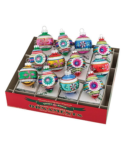 Christopher Radko Shiny Brite Christmas Confetti Decorated Shapes & Rounds 12-Piece Ornament Set
