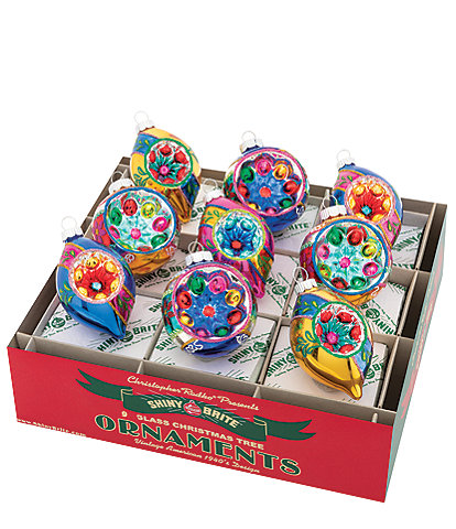 Christopher Radko Shiny Brite Christmas Confetti Reflector Rounds & Tulips 9-Piece Ornament Set