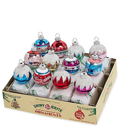 Christopher Radko Shiny Brite Dillard's Radiant Holiday Collection Decorated Rounds 12-Piece Ornament Set