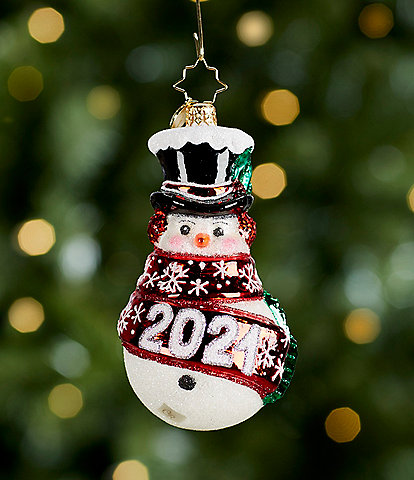 Christopher Radko Wrapped In Cheer 2021 Snowman Ornament