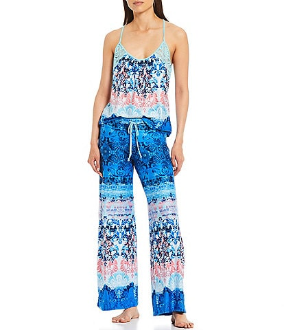 In Bloom by Jonquil Madeira Printed Jersey Knit Scoop Neck Coordinating Pajama Set