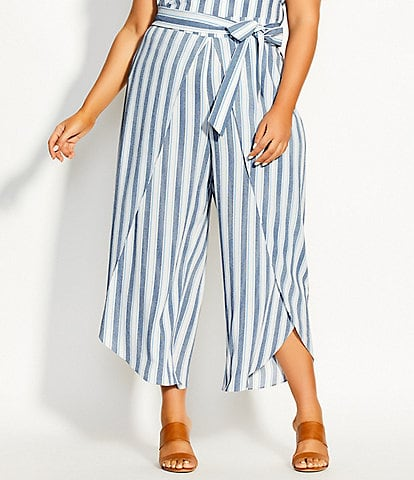 City Chic Plus Size Breezy Stripe Tie Waist Tulip Hem Cropped Pants
