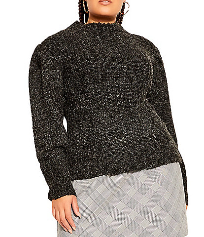 City Chic Plus Size Crew Neck Long Sleeve Knit Cozy Statement Sweater