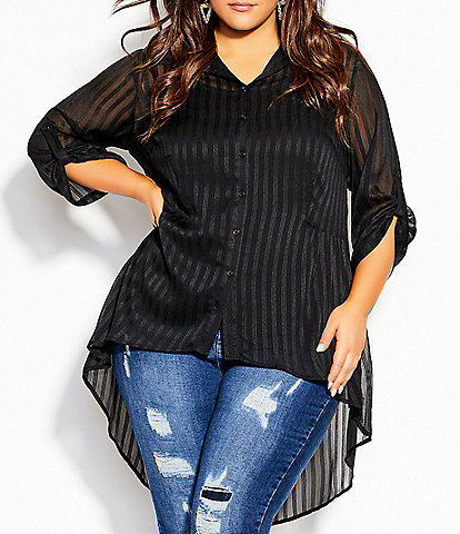 City Chic Plus Size Elegant Stripe Sheer Roll-Tab Sleeve Button Front Hi-Low Shirt