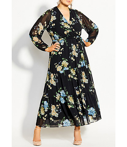 City Chic Plus Size Fair Floral Print Faux Wrap Long Sleeve Maxi Dress