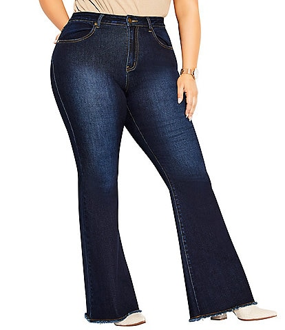 City Chic Plus Size Harley Classic Frayed Hem High Rise Flare Jeans