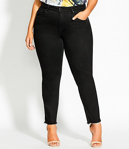 City Chic Plus Size Harley Costa Straight Leg Frayed Hem Jeans
