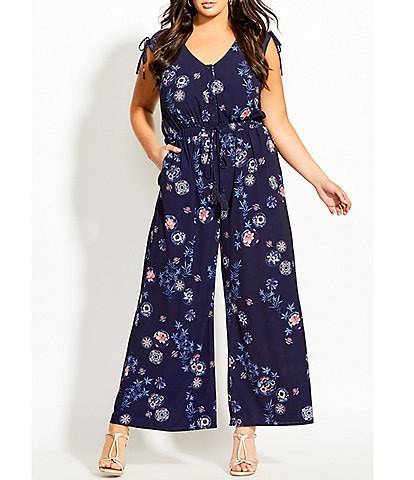 City Chic Plus Size Itsuki Floral Print V-Neck Sleeveless Wide Leg Jumpsuit