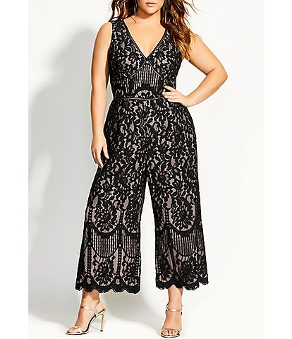 City Chic Plus Size Lace V-Neck Sleeveless Scalloped Hem Jumpsuit