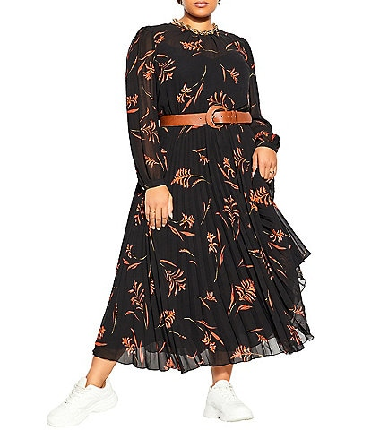 City Chic Plus Size Leaf Floral High Neck Long Sheer Sleeves Contrast Belted Pleated Maxi Dress