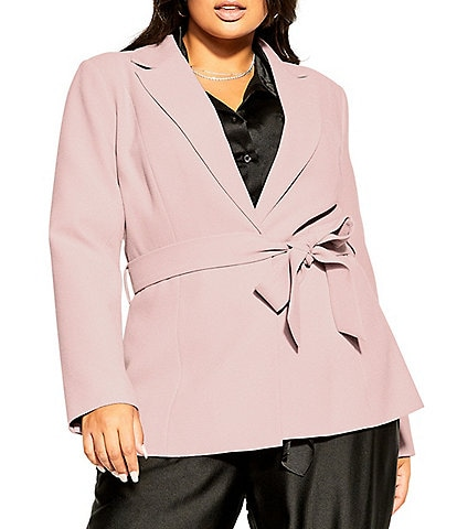 City Chic Plus Size So Elegant Collared Tie Front Jacket