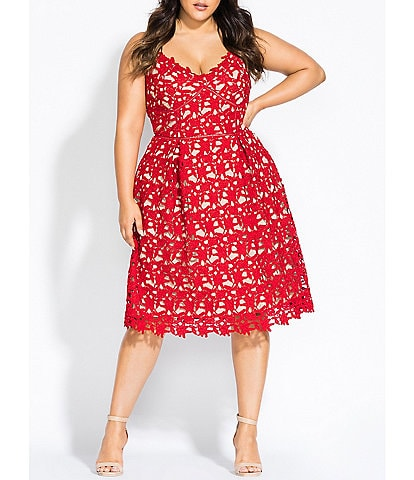 City Chic Plus Size So Fancy V-Neck Sleeveless Midi Dress