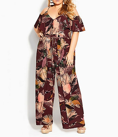 City Chic Plus Size Tropic Heat V-Neck Cold Shoulder Sleeve Overlap Leg Drawstring Waist Jumpsuit