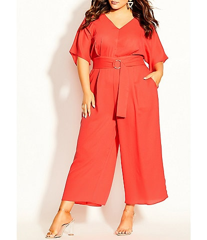 City Chic Plus Size V-Neck Elbow Sleeve Belted Crop Jumpsuit