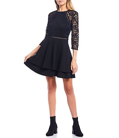 City Vibe 3/4 Lace Sleeve Double Hem Skater Dress