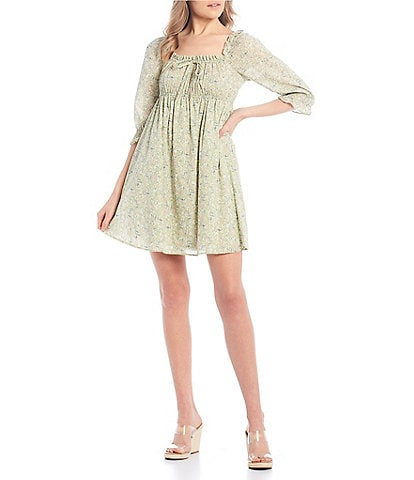 City Vibe 3/4 Puff Sleeve Ditsy Floral Dress