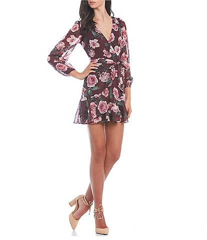 City Vibe 3/4-Sleeve Floral-Printed Faux-Wrap Dress