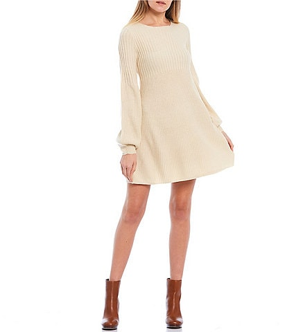 City Vibe Balloon Sleeve Babydoll Sweater Dress
