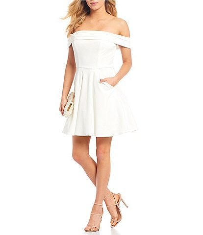 City Vibe Cuffed Off-the-Shoulder Fit and Flare Dress