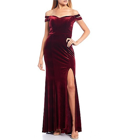 Teeze Me Double Strap Off-The-Shoulder Side Slit Velvet Long Dress
