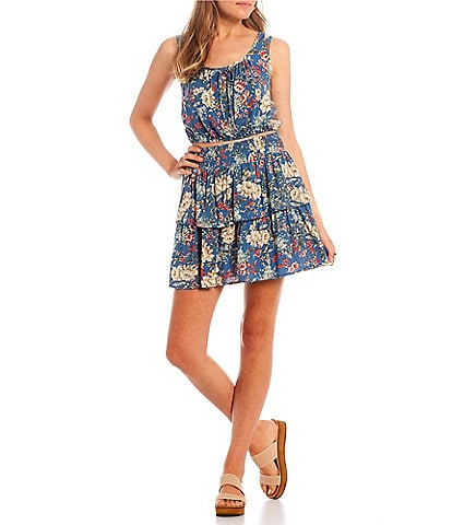 City Vibe Floral Print Tiered Skirt Two-Piece Dress