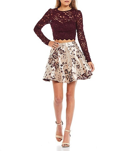 City Vibe Glitter-Accented Lace Top & Floral-Printed Jacquard Brocade Skirt Two-Piece Dress