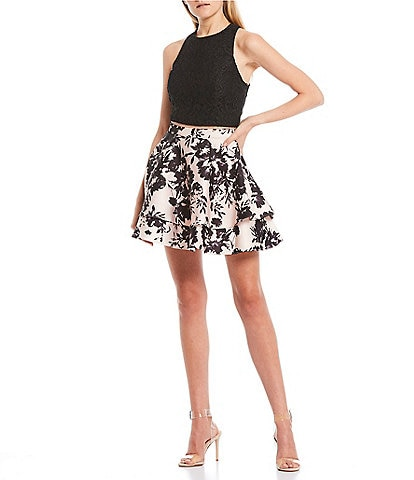 City Vibe Glitter Lace Top with Floral Skirt Two-Piece Dress