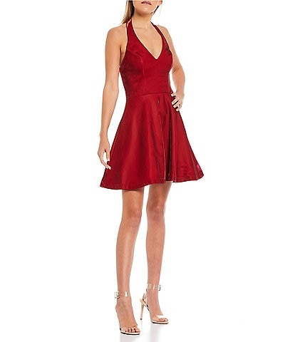 City Vibe Halter-Neck Shiny Fit-And-Flare Party Dress