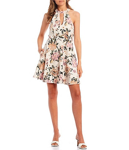 City Vibe High-Neck Floral Print Bow-Back Fit-and-Flare Dress