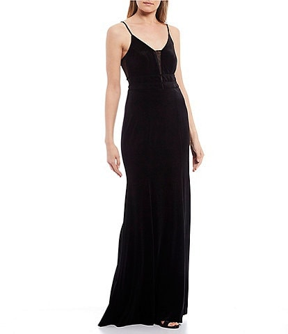 City Vibe Illusion Insets Piped Waist Velvet Long Dress