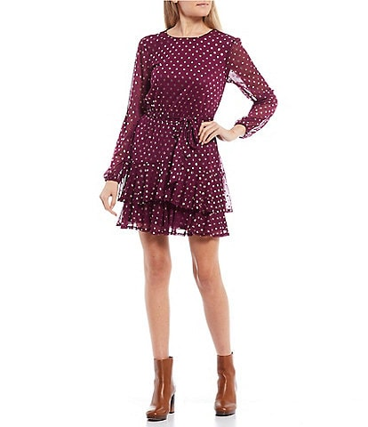 City Vibe Long-Sleeve Belted Foil Dotted Double Hem Dress