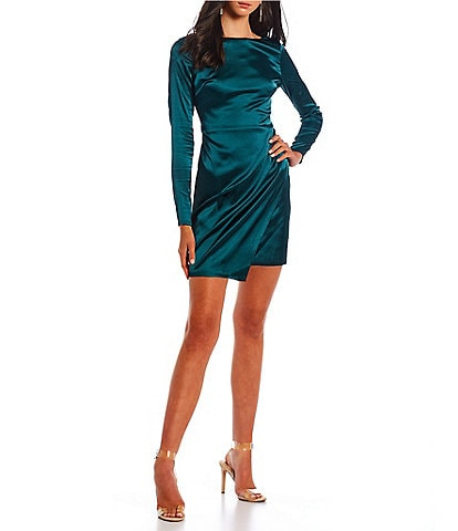 City Vibe Long-Sleeve Tie-Back Faux-Wrap Ruched Satin Dress