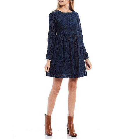 City Vibe Long-Sleeve Floral Burn-Out Velvet Babydoll Dress