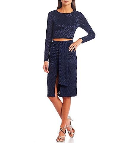 City Vibe Long-Sleeve Glitter-Knit Top & Midi Skirt Two-Piece Dress