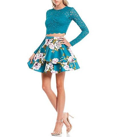 City Vibe Long-Sleeve Lace Top with Floral Print Double Hem Skirt Two-Piece Dress