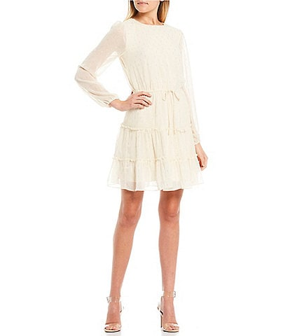 City Vibe Long Sleeve Metallic Clip Dot Tiered Dress