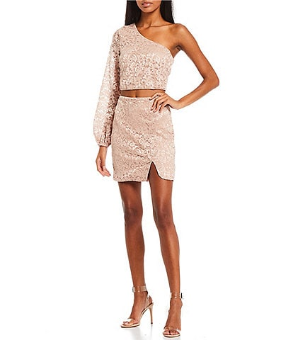 City Vibe One-Shoulder Blouson Sleeve Top And Fitted Skirt Patterned Lace Two-Piece Dress