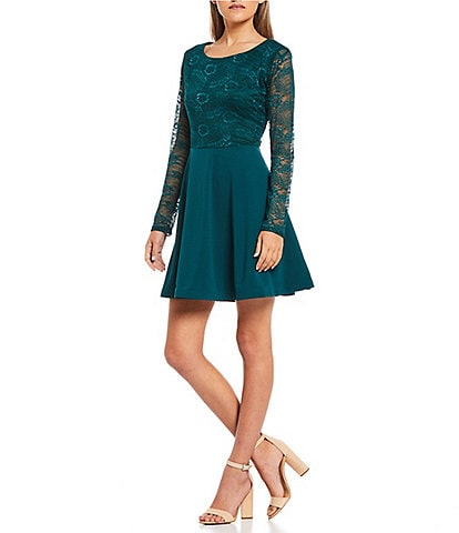 City Vibe Long-Sleeve Scuba Crepe Fit-And-Flare Dress