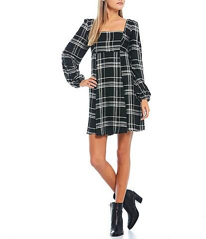 City Vibe Long-Sleeve Square Neck Plaid Empire Waist Dress