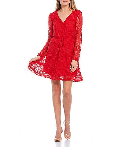 City Vibe Long-Sleeve Surplice V-Neck Lace Tiered Faux-Wrap Dress