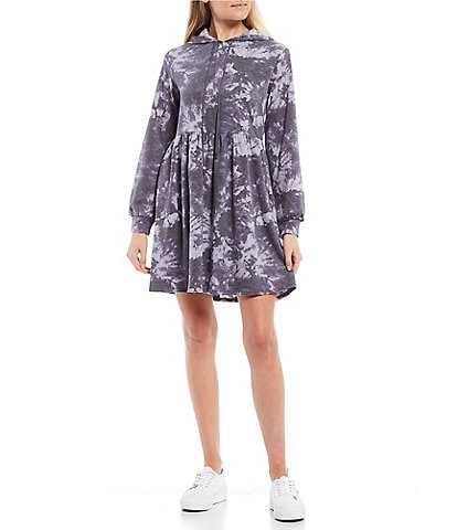 City Vibe Long-Sleeve Tie-Dye Hooded Knit Dress & Matching Face Mask Set