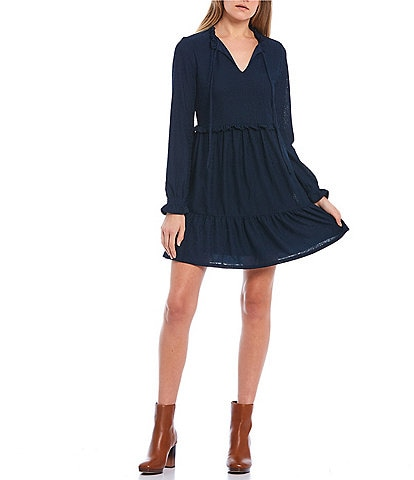 City Vibe Long-Sleeve Tie-Front Tiered Knit Babydoll Dress