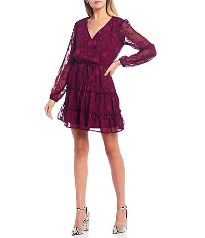 City Vibe Long Sleeve Tiered Faux-Wrap Burnout Chiffon Dress