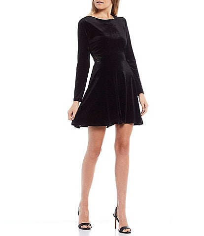 City Vibe Long-Sleeve Velvet Embroidered Side Skater Dress