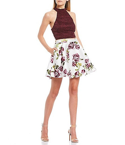 City Vibe Mock Neck Lace-Up Back Lace Top with Floral Skirt Two-Piece Dress