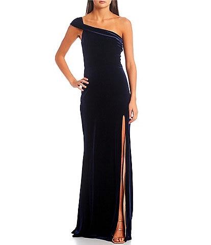 City Vibe Off-One-Shoulder Side Slit Long Dress