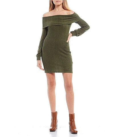 City Vibe Off-the-Shoulder Cuffed Neck Rib-Knit Sheath Dress