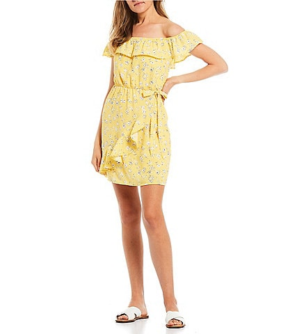 City Vibe Off-the-Shoulder Ditsy Ruffle Faux-Wrap Dress