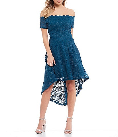City Vibe Off The Shoulder Glitter Lace High-Low Dress