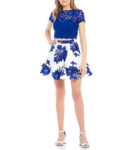 City Vibe Short Sleeve Glitter Lace Top with Floral Skirt Two-Piece Dress